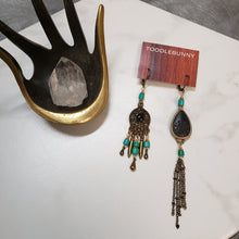 Load image into Gallery viewer, Asymmetric turquoise teardrop earrings