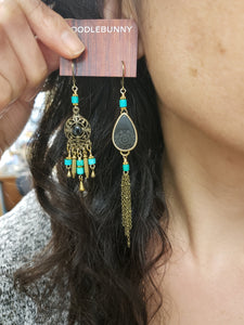 Asymmetric turquoise teardrop earrings