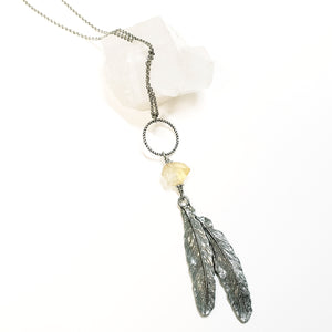 Citrine feather ring drop necklace