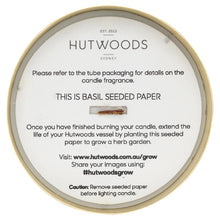 Load image into Gallery viewer, Hutwoods wood wick candle seeded paper in jar