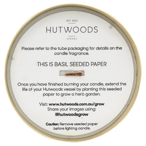 Hutwoods wood wick candle seeded paper in jar