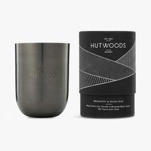 Load image into Gallery viewer, Hutwoods scented candle in luxury gunmetal vessel and gift tube