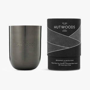 Hutwoods scented candle in luxury gunmetal vessel and gift tube