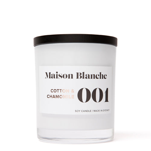 Maison Blanche Soy Candle Large Cotton and Chamomile 400g Made in Sydney