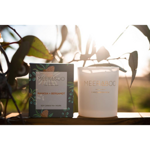 Soy candle botanical collection banksia and bergamot scent Meeraboo