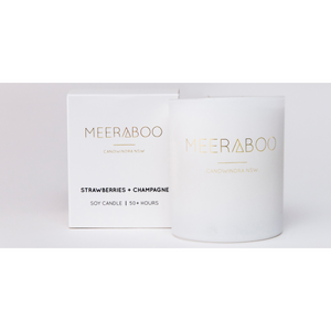 Meeraboo candles matte white jar and gift box