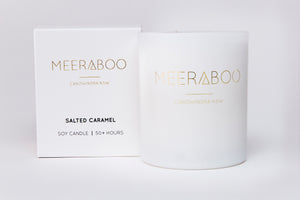 Meeraboo scented candle white jar salted caramel
