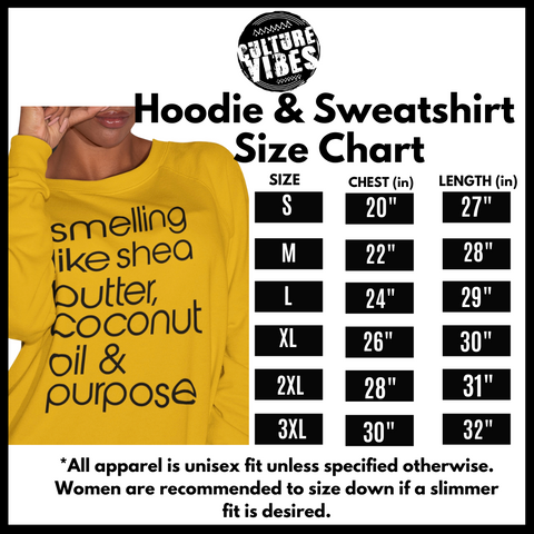 Culture Vibes Hoodie and Sweatshirt Size Chart