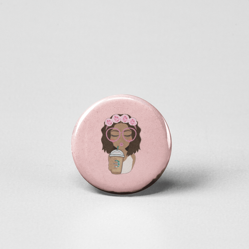 Drawing of Black Girl sipping Starbucks coffee pinback button