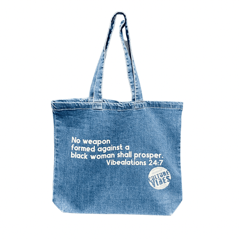 No Weapon against a Black Woman denim tote bag