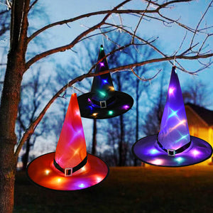 Halloween Glowing Witches Hat with LED Light Halloween Hanging Decor Children Adult Party Prom Dress Up Costume Props