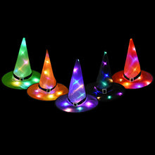 Laden Sie das Bild in den Galerie-Viewer, Halloween Glowing Witches Hat with LED Light Halloween Hanging Decor Children Adult Party Prom Dress Up Costume Props