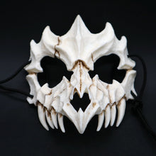 Laden Sie das Bild in den Galerie-Viewer, Half Animal Mask Long Teeth Demon Samurai White Bone Mask Tengu Dragon Yaksa Tiger Resin Mask Cosplay*