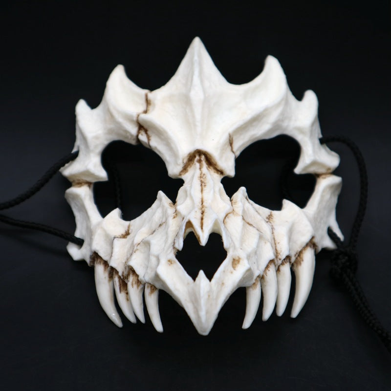 Half Animal Mask Long Teeth Demon Samurai White Bone Mask Tengu Dragon Yaksa Tiger Resin Mask Cosplay*