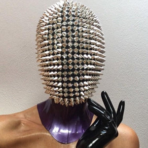 Studded Spikes Vollgesichtsjuwel Margiela Maske (Halloween, EDM, Cosplay, Rave, Party, Film)