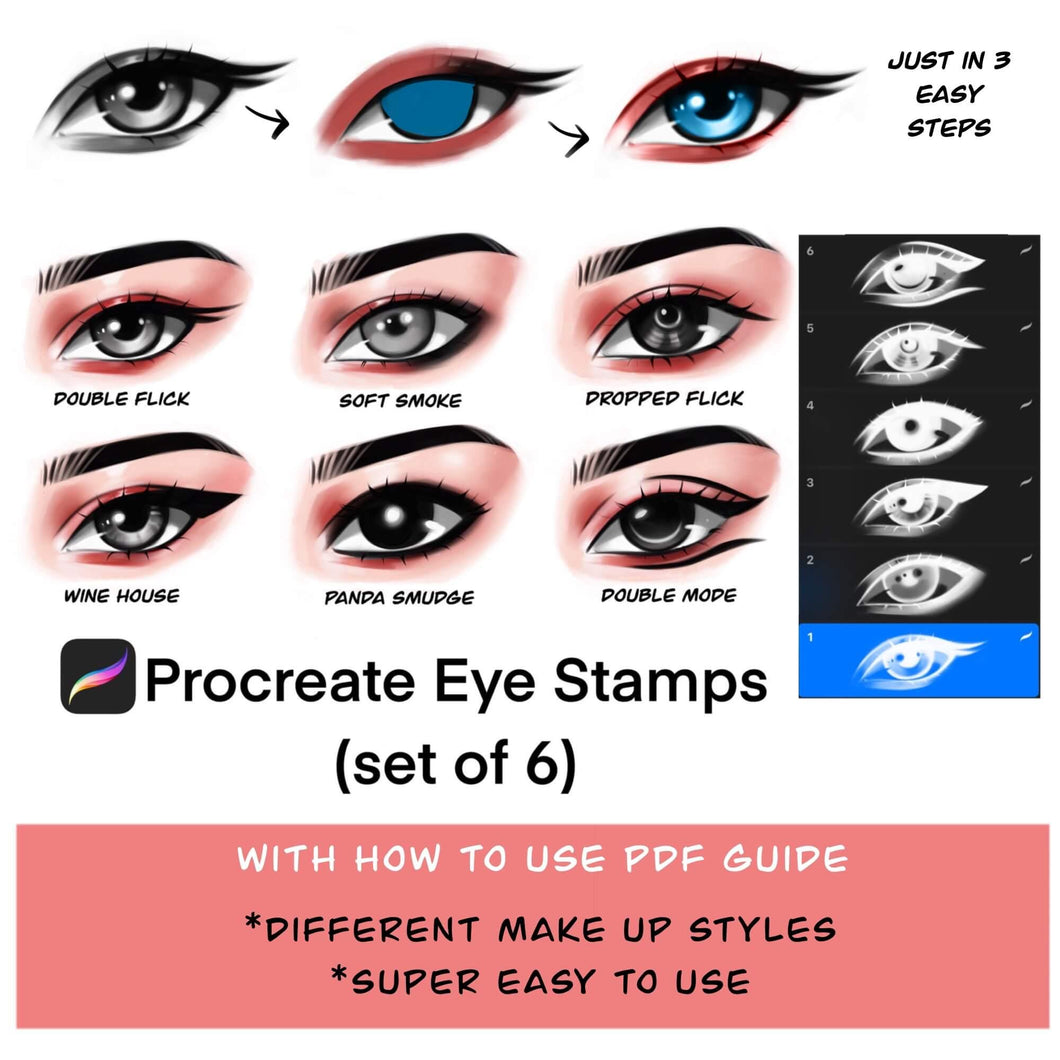 Procreate eye makeup stamp brushes/Procreate eye guide: Easy to use and high quality stamps - MuzenikArt