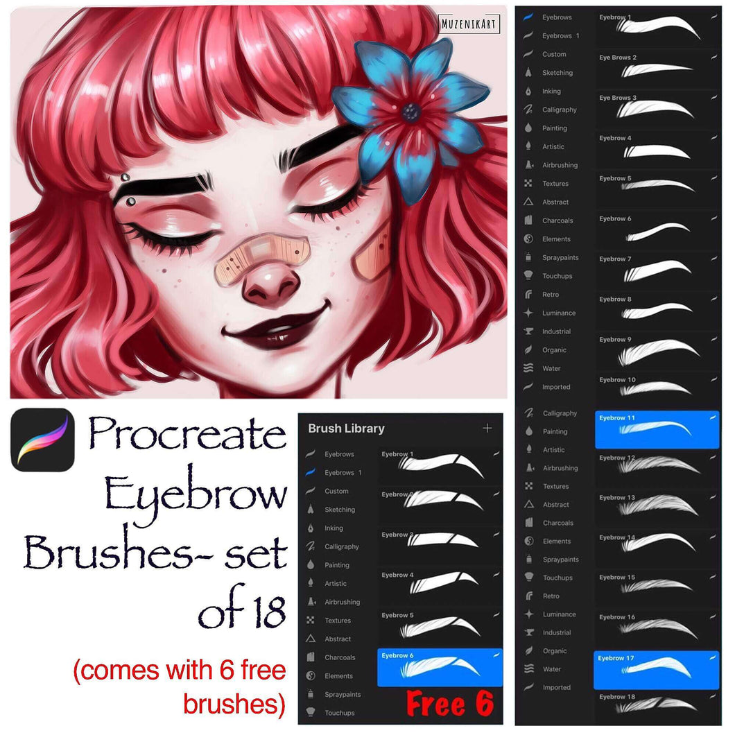 Procreate Eyebrow Stamp Brushes : Set of 18 with 6 Free Stamps