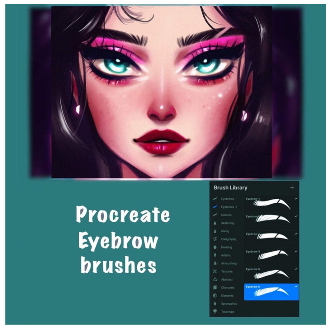 Procreate Eyebrow Stamp Brushes with Scar-Set of 6
