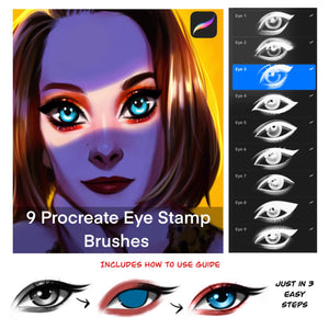 Procreate eye stamp brushes : With How to Use Guide