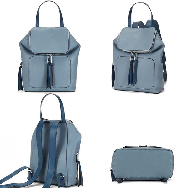 Mia Leather Backpack Blue