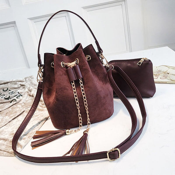 Layla Drawstring Bucket Bag Coffee