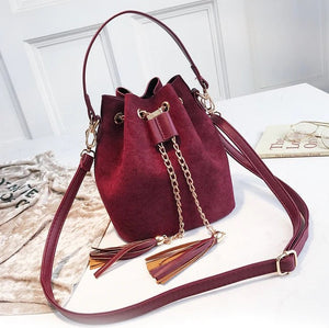 Layla Drawstring Bucket Bag Red