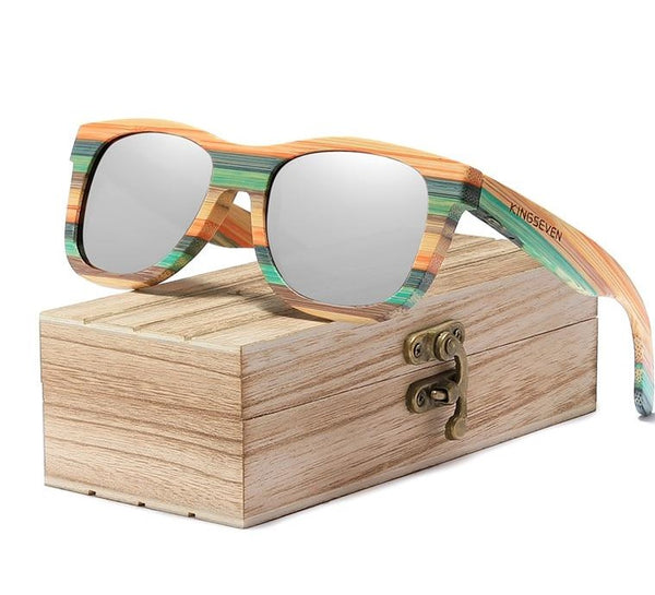 Beach Vibe Retro Bamboo Polarized Sunglasses