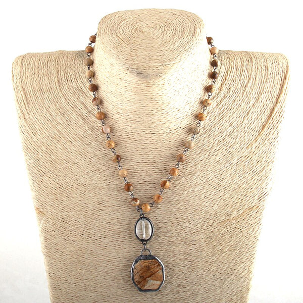 Natural Jasper & Agate Beaded Necklace Brown