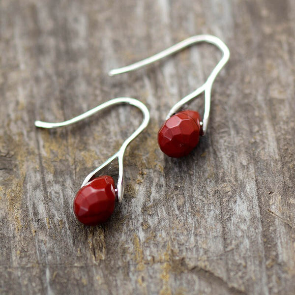 Red Jasper Faceted Drop Earrings