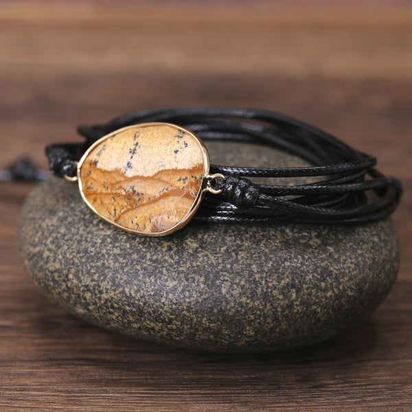 Natural Jasper Leather Wrap Bracelet