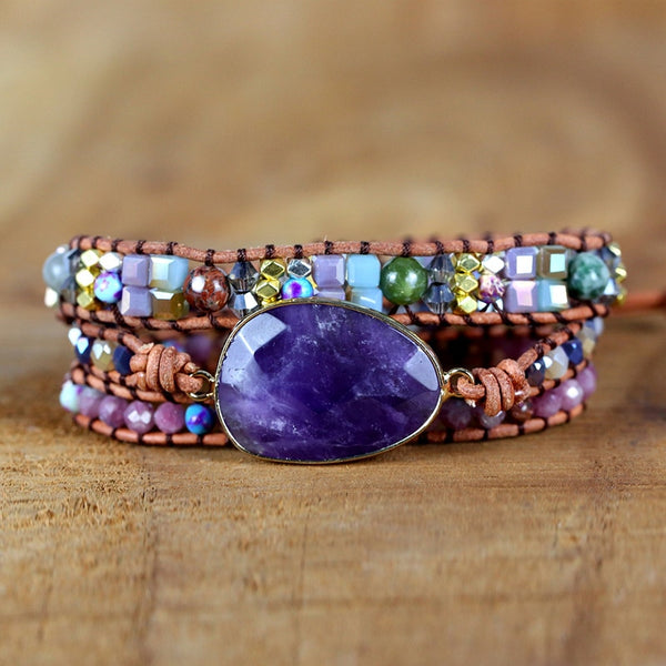 Natural Amethyst Gemstone Leather Wrap