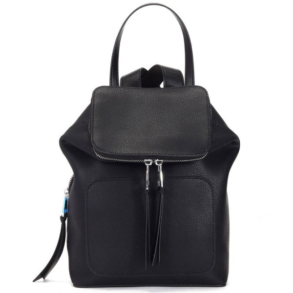 Mia Leather Backpack Black