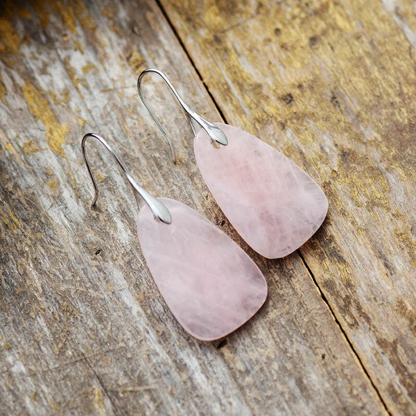 Natural Pink Quartz Drop Earrings