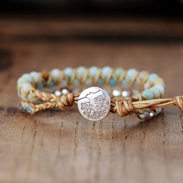 Boho Amazonite Crystal Braided Bracelet