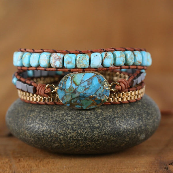 Natural Turquoise Leather Wrap Bracelet