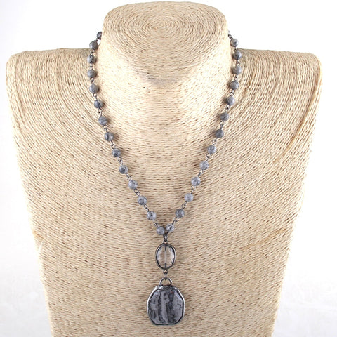 Natural Jasper & Agate Beaded Necklace Gray