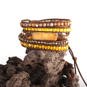 Druzy Agate Leather Wrap Bracelet