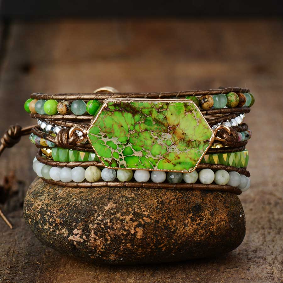 Natural Imperial Jasper Leather Wrap Bracelet