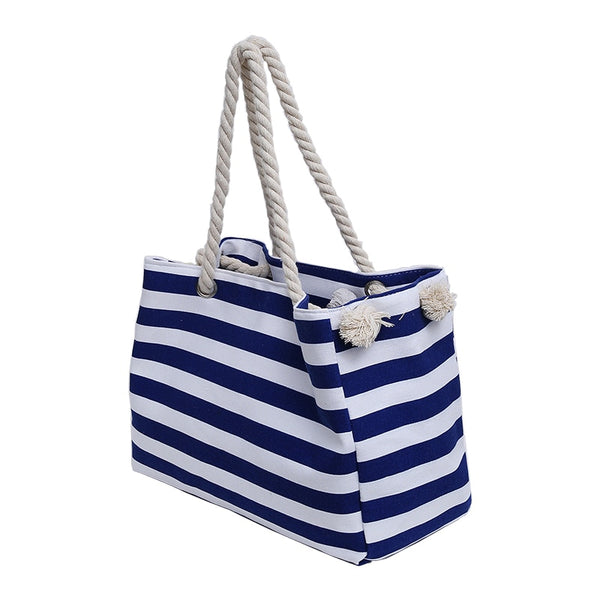 Nautical Striped Canvas Tote Bag Blue