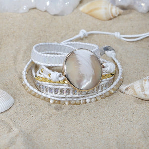 Natural Capiz Shell Leather Wrap