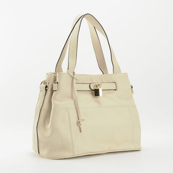 Parker Leather Handbag Beige