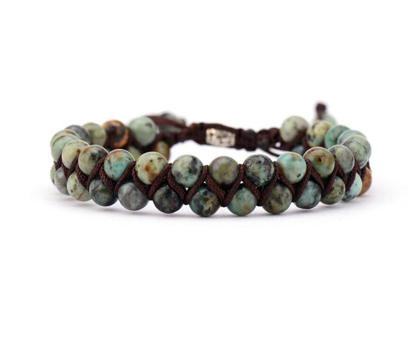 Agate & Jasper Natural Stone Braided Wrap Bracelet