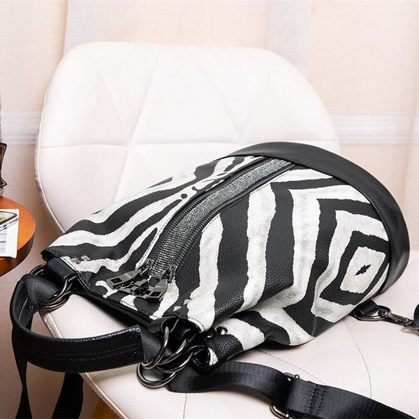 Zebra Pattern Leather Backpack