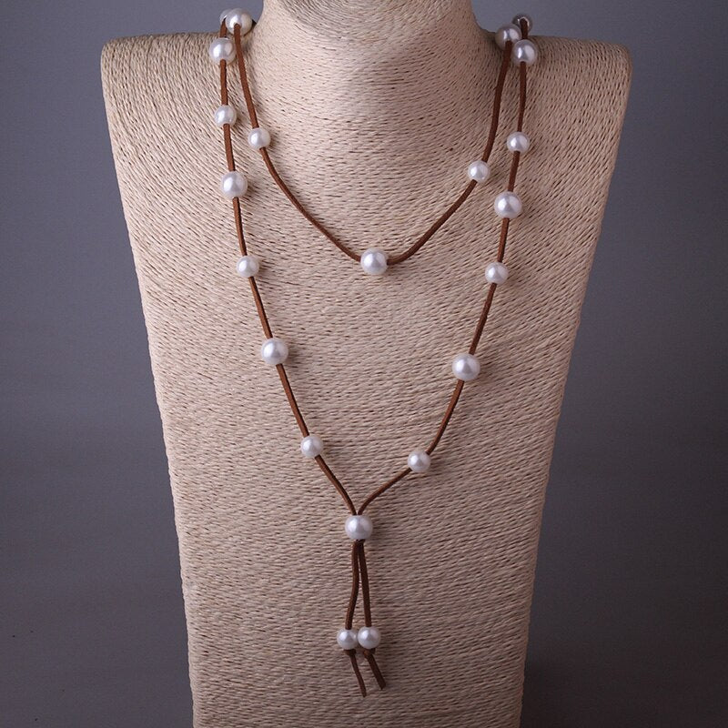 Bohemian Suede Rope Necklace Dark Brown