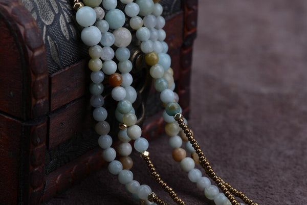 Boho Amazonite 3 Layer Beaded Necklace