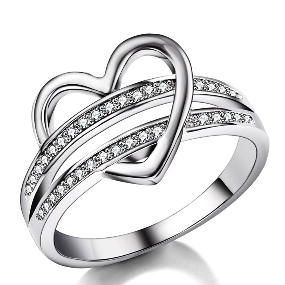 Cubic Zirconia Banded Heart Ring