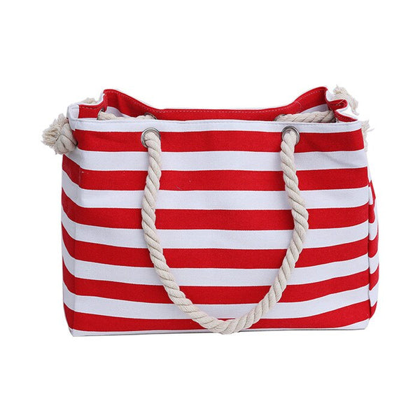 Nautical Striped Canvas Tote Bag Red