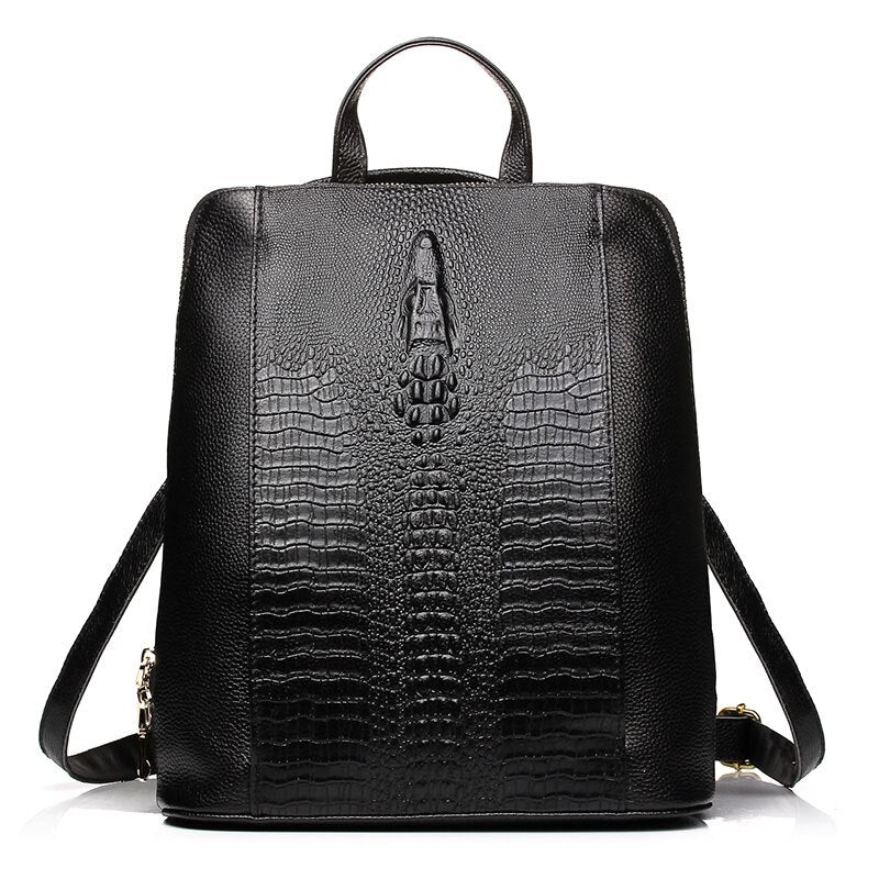 Hannah Leather Crocodile Pattern Backpack