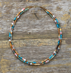 Multi Colored Stone Seed Bead Choker Necklace