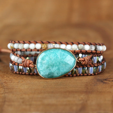 Natural Amazonite Multi-layer Leather Wrap